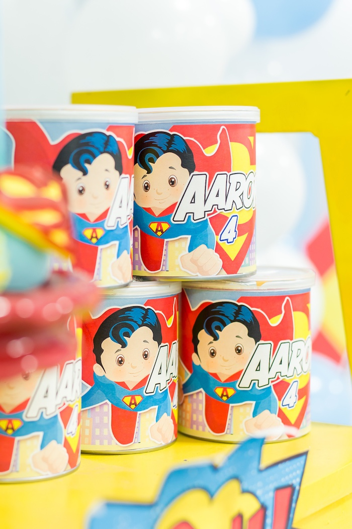 Superman favor cans from a Superman Birthday Party on Kara's Party Ideas | KarasPartyIdeas.com (30)