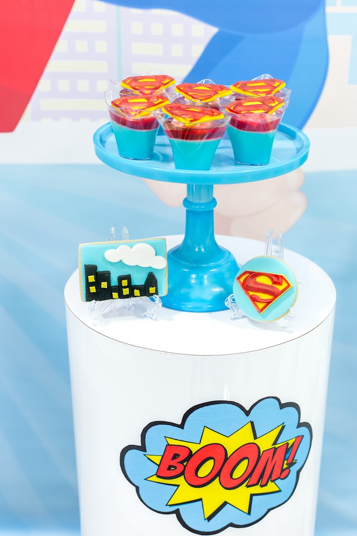 BOOM dessert table from a Superman Birthday Party on Kara's Party Ideas | KarasPartyIdeas.com (27)