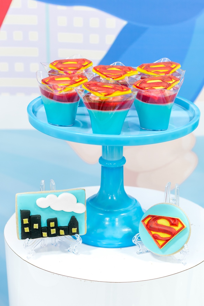 Superman Jello Cups from a Superman Birthday Party on Kara's Party Ideas | KarasPartyIdeas.com (26)