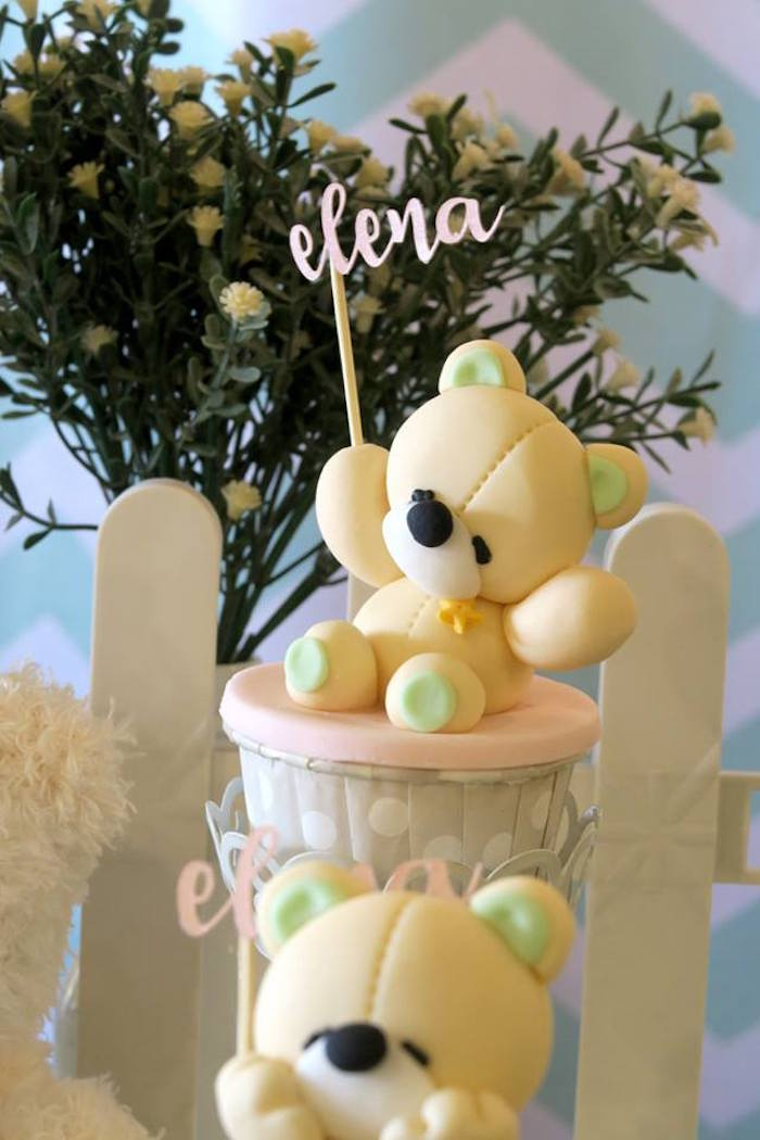 Teddy Bear Cupcake from a Teddy Bear Birthday Party on Kara's Party Ideas | KarasPartyIdeas.com (9)