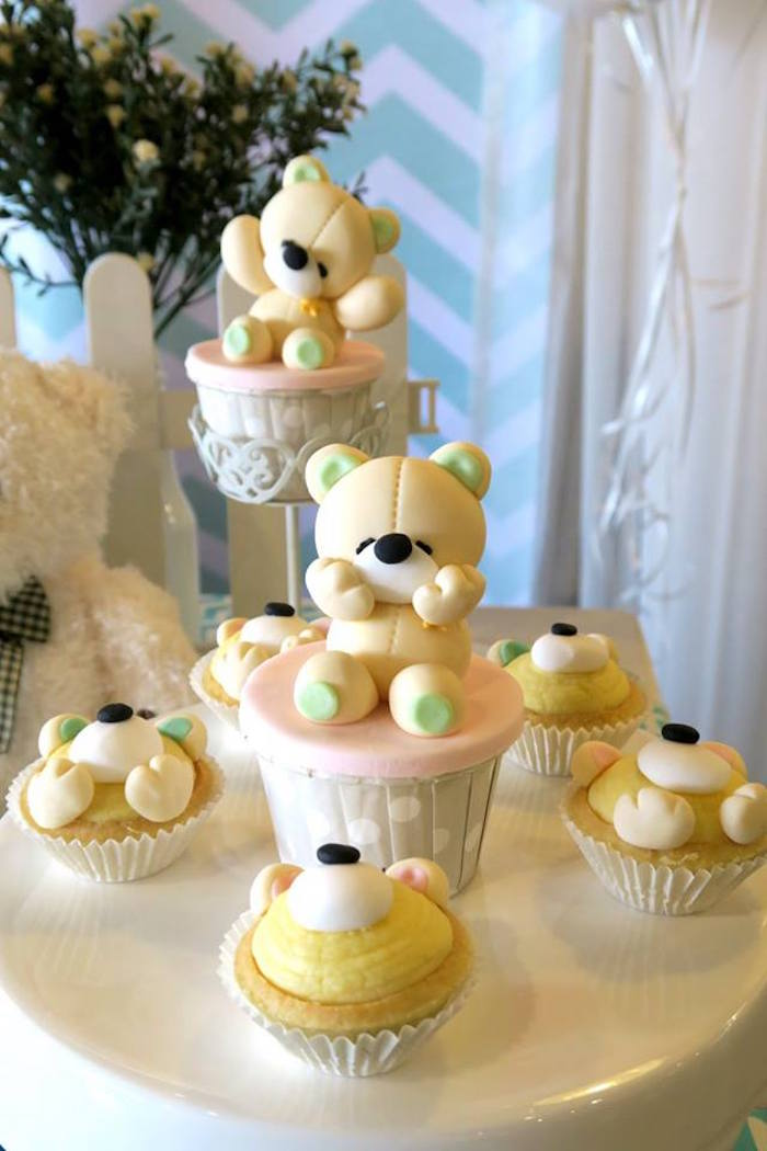 Teddy Bear Cupcakes & Tarts from a Teddy Bear Birthday Party on Kara's Party Ideas | KarasPartyIdeas.com (8)