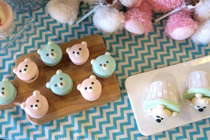 Teddy Bear Macarons from a Teddy Bear Birthday Party on Kara's Party Ideas | KarasPartyIdeas.com (6)