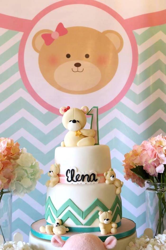 Teddy Bear Cake from a Teddy Bear Birthday Party on Kara's Party Ideas   KarasPartyIdeas.com (4)