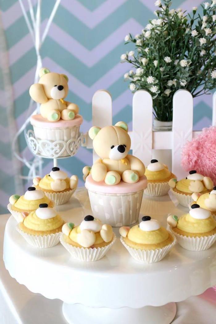 Teddy Bear Cupcakes + Tarts from a Teddy Bear Birthday Party on Kara's Party Ideas   KarasPartyIdeas.com (17)
