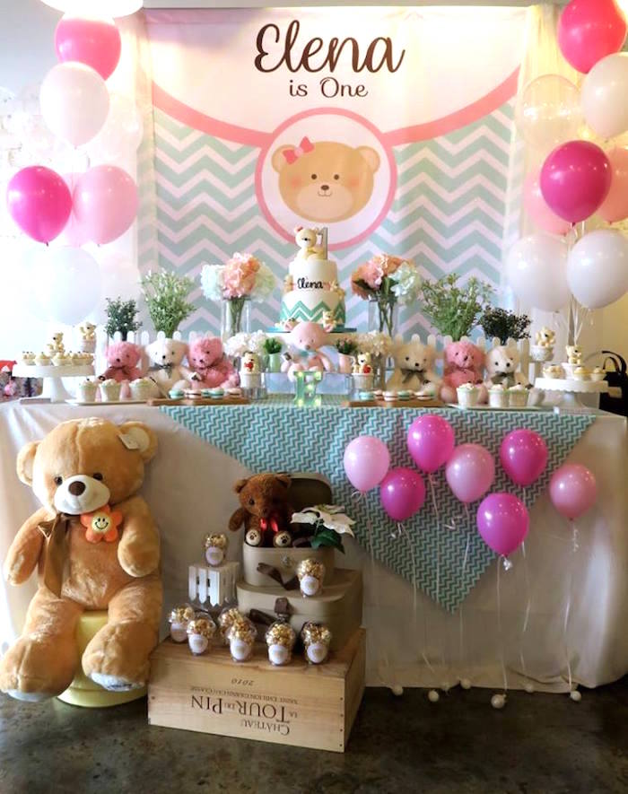 Teddy Bear Dessert Table from a Teddy Bear Birthday Party on Kara's Party Ideas | KarasPartyIdeas.com (15)