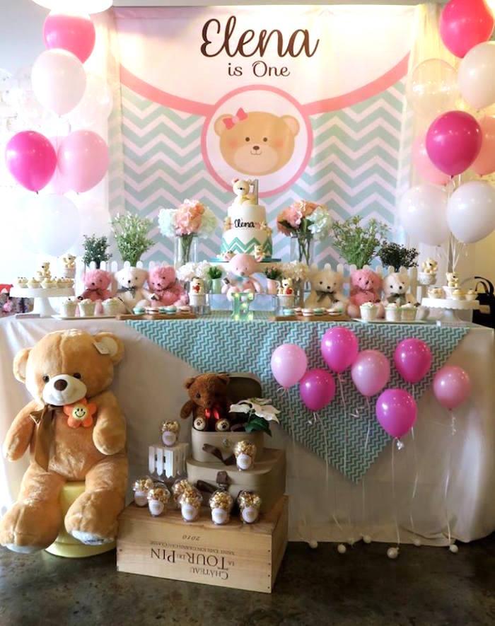 Teddy Bear Dessert Table from a Teddy Bear Birthday Party on Kara's Party Ideas   KarasPartyIdeas.com (15)
