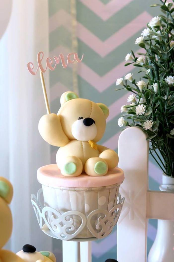 Teddy Bear Cupcake from a Teddy Bear Birthday Party on Kara's Party Ideas   KarasPartyIdeas.com (12)