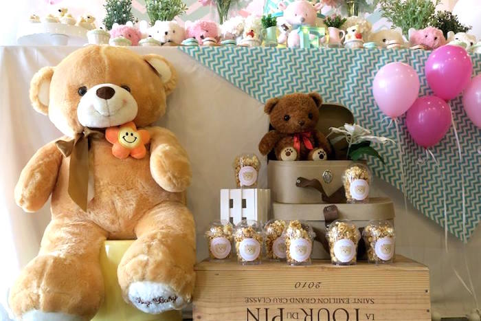 Teddies and popcorn from a Teddy Bear Birthday Party on Kara's Party Ideas | KarasPartyIdeas.com (11)