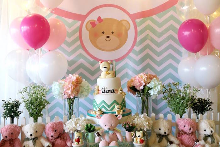 Cakescape + backdrop from a Teddy Bear Birthday Party on Kara's Party Ideas | KarasPartyIdeas.com (10)