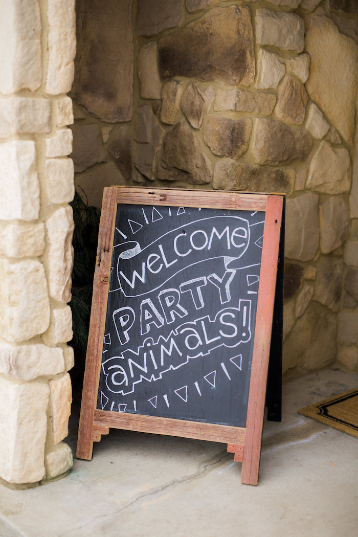 Chalkboard easel welcome sign from a Wild Kratts Animal Birthday Party on Kara's Party Ideas | KarasPartyIdeas.com (2)