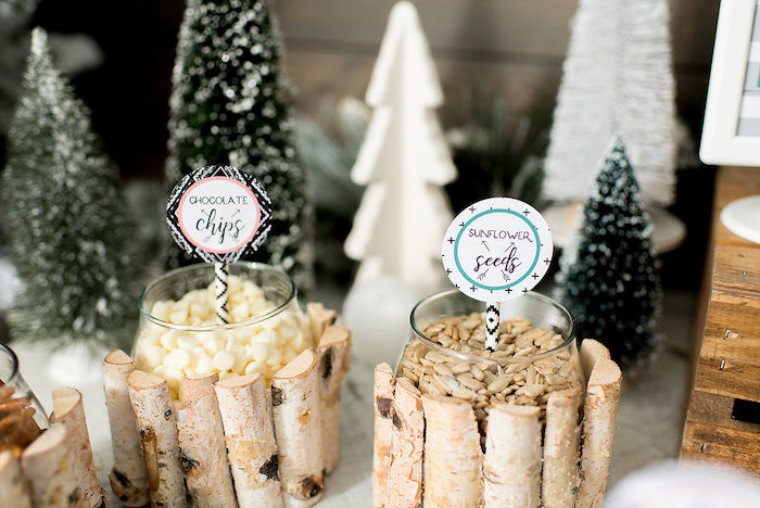Trail mix bar from a Winter Woodland Birthday Party on Kara's Party Ideas | KarasPartyIdeas.com (10)
