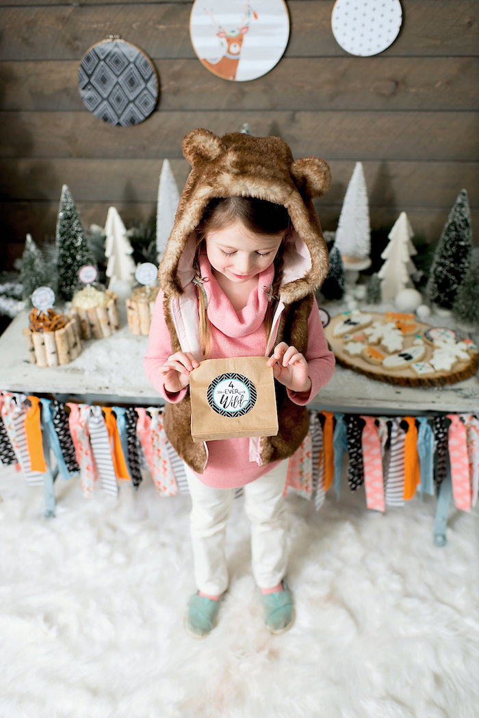 Brown paper favor sack from a Winter Woodland Birthday Party on Kara's Party Ideas | KarasPartyIdeas.com (8)