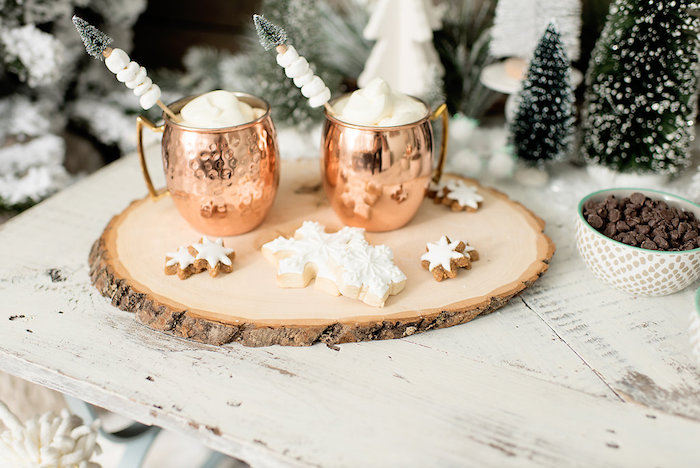 Copper Hot Cocoa Mugs from a Winter Woodland Birthday Party on Kara's Party Ideas | KarasPartyIdeas.com (23)