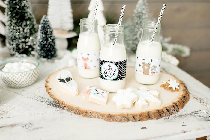 Cookies and Milk from a Winter Woodland Birthday Party on Kara's Party Ideas | KarasPartyIdeas.com (22)