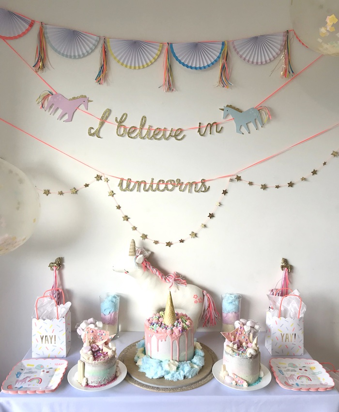 "Unicorn Dessert Table from an ""I Believe in Unicorns"" Birthday Party on Kara's Party Ideas 