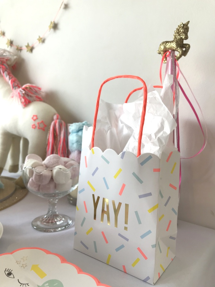 "Confetti ""yay"" favor bag from an ""I Believe in Unicorns"" Birthday Party on Kara's Party Ideas 