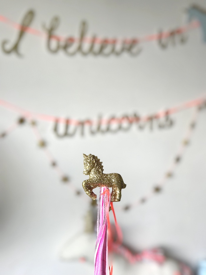 "Glitter unicorn tassel from an ""I Believe in Unicorns"" Birthday Party on Kara's Party Ideas 
