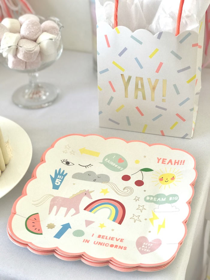 "Unicorn Plates from an ""I Believe in Unicorns"" Birthday Party on Kara's Party Ideas 