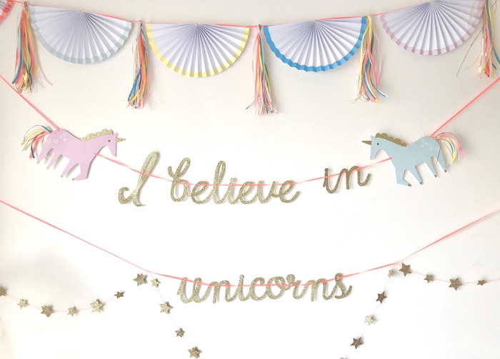 "I Believe in Unicorns banner + backdrop from an ""I Believe in Unicorns"" Birthday Party on Kara's Party Ideas 