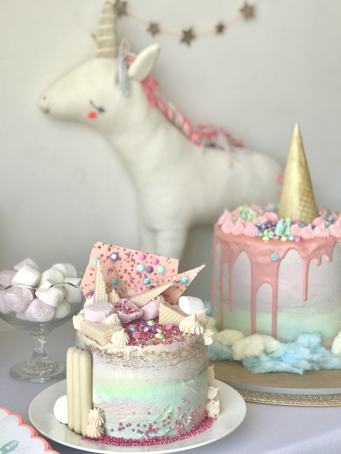 "Unicorn-inspired Birthday Cakes from an ""I Believe in Unicorns"" Birthday Party on Kara's Party Ideas 