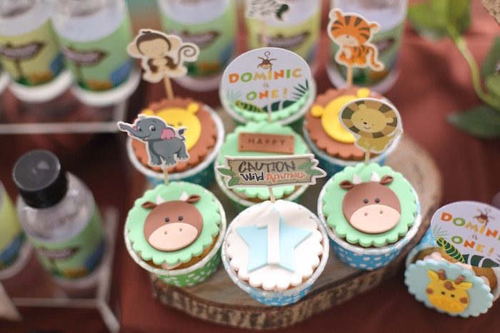 """Jungle Animal Cupcakes from a """"King of the Jungle"""" Birthday Party on Kara's Party Ideas 