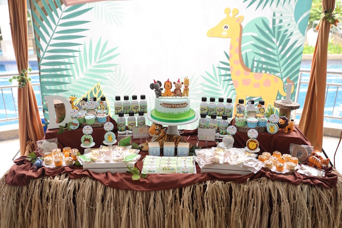 """Dessert Table from a """"King of the Jungle"""" Birthday Party on Kara's Party Ideas 