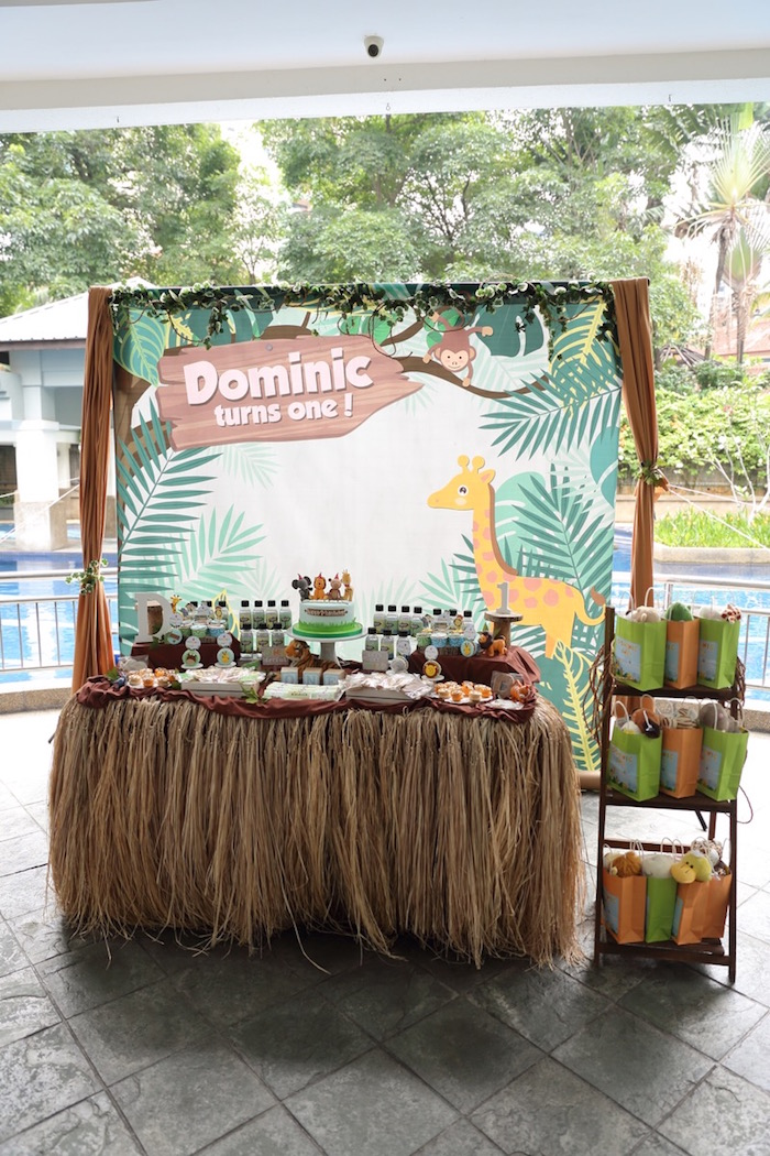 """Jungle/Safari Themed Dessert Table from a """"King of the Jungle"""" Birthday Party on Kara's Party Ideas 