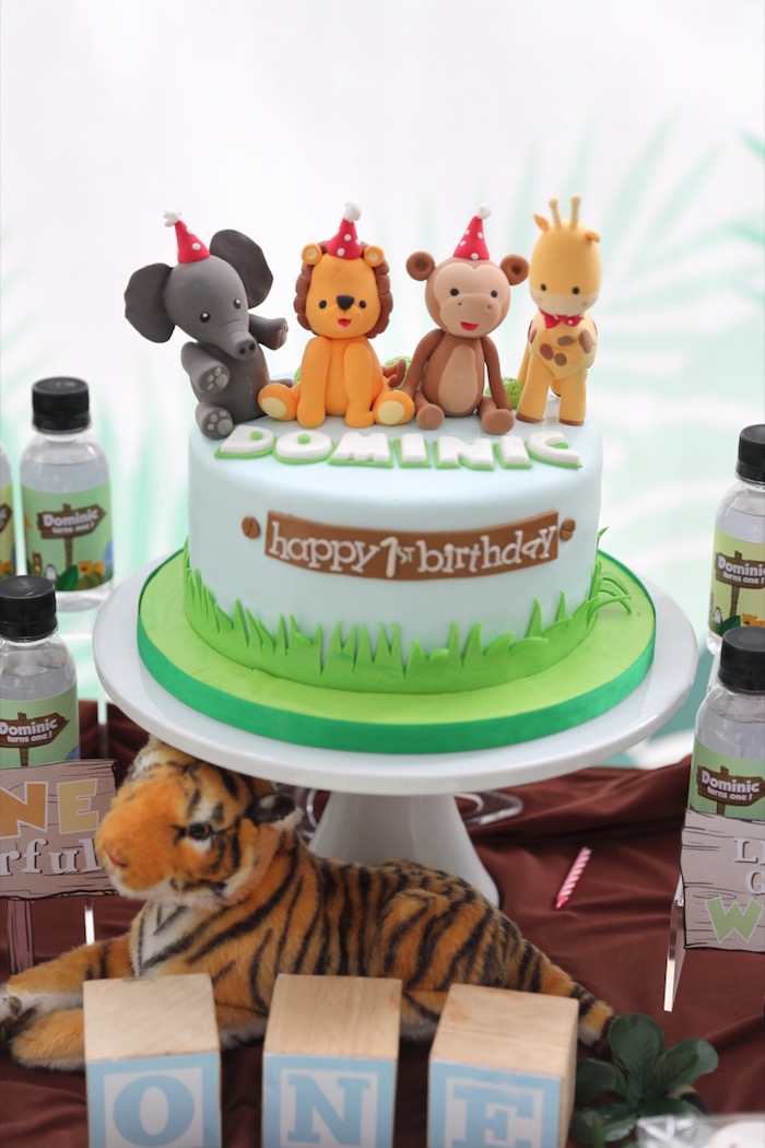 """Jungle Animal Cake from a """"King of the Jungle"""" Birthday Party on Kara's Party Ideas 