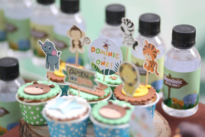 """Cupcake Toppers from a """"King of the Jungle"""" Birthday Party on Kara's Party Ideas 