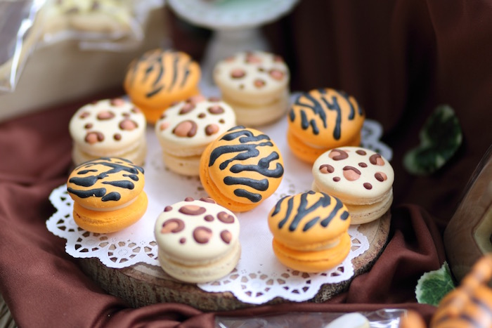 """Jungle Animal Print Macarons from a """"King of the Jungle"""" Birthday Party on Kara's Party Ideas 