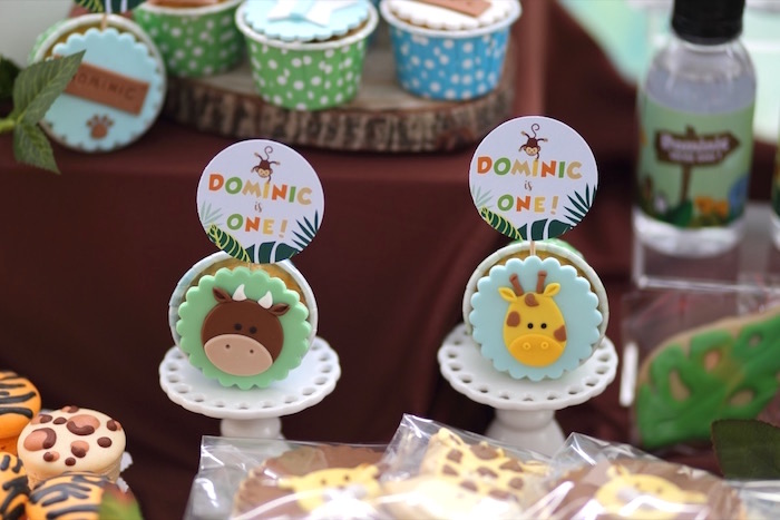 "Safari Animal Cupcakes from a ""King of the Jungle"" Birthday Party on Kara's Party Ideas | KarasPartyIdeas.com (22)"