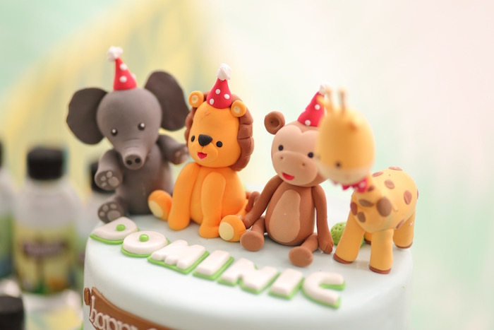 """Jungle Animal Cake Toppers from a """"King of the Jungle"""" Birthday Party on Kara's Party Ideas 