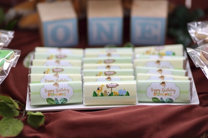"""Custom Candy Bars from a """"King of the Jungle"""" Birthday Party on Kara's Party Ideas 