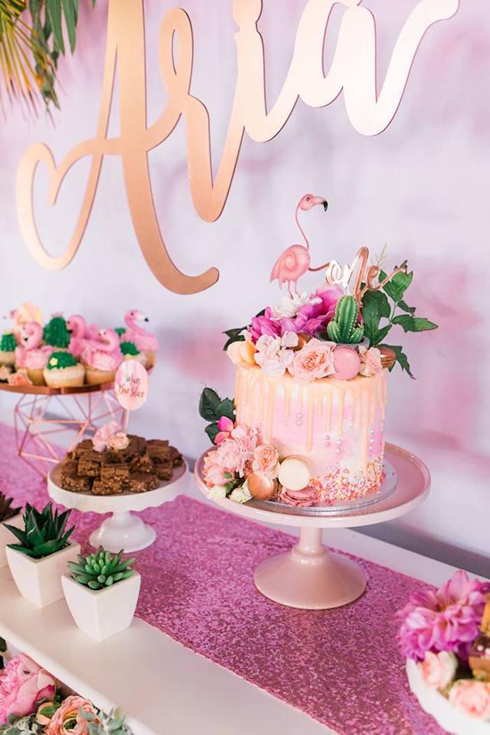 "Flamingo Drip Cake from a ""Let's Flamingle"" Tropical Flamingo Birthday Party on Kara's Party Ideas   KarasPartyIdeas.com (16)"