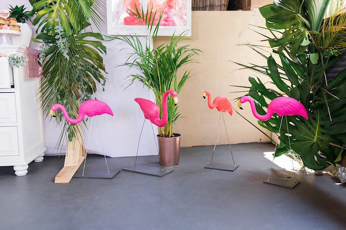 "Flamingos from a ""Let's Flamingle"" Tropical Flamingo Birthday Party on Kara's Party Ideas 
