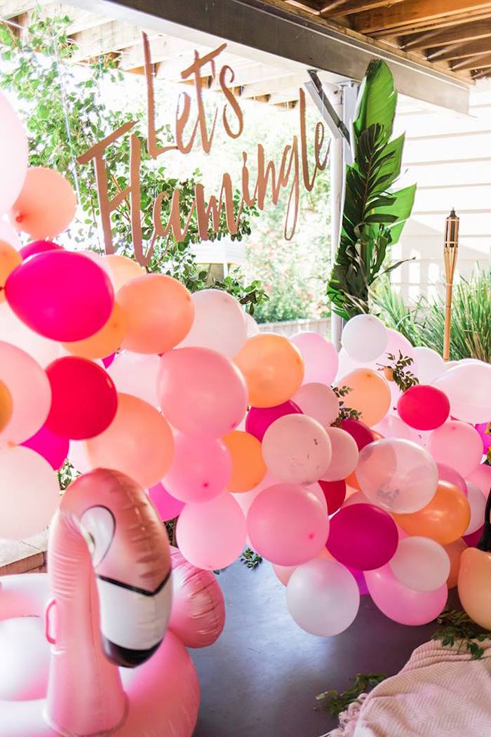 "Balloon Installation from a ""Let's Flamingle"" Tropical Flamingo Birthday Party on Kara's Party Ideas 