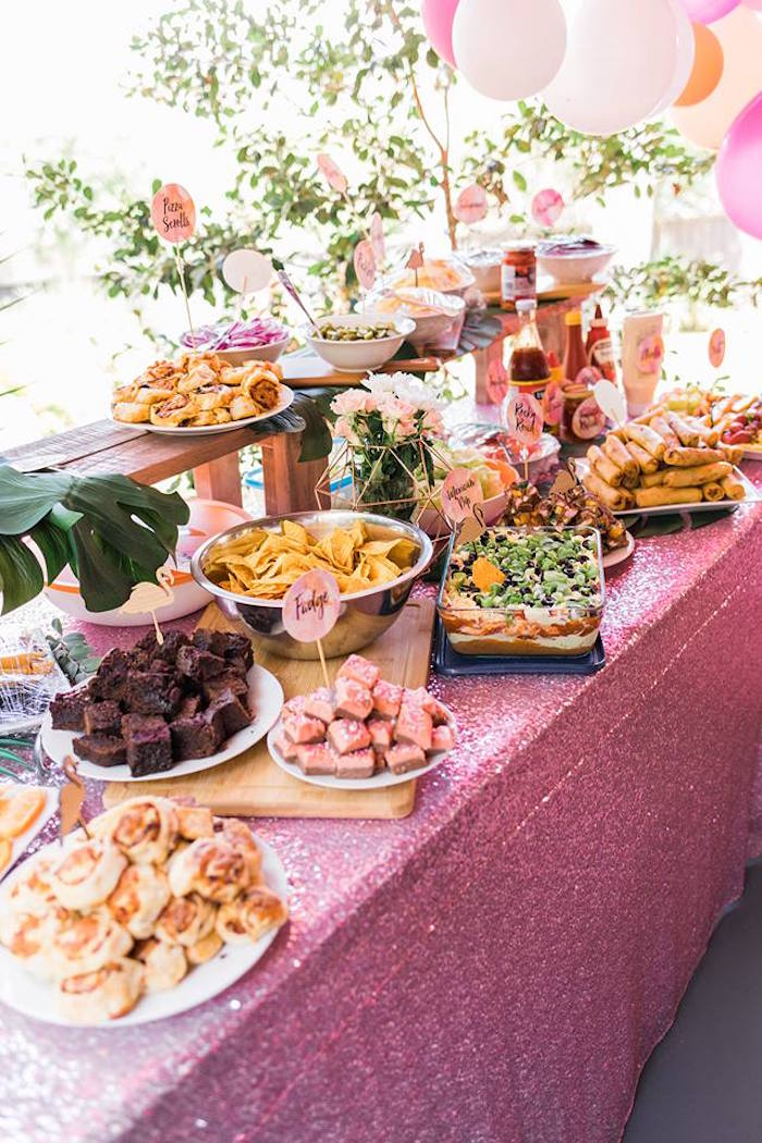 "Food Table from a ""Let's Flamingle"" Tropical Flamingo Birthday Party on Kara's Party Ideas 