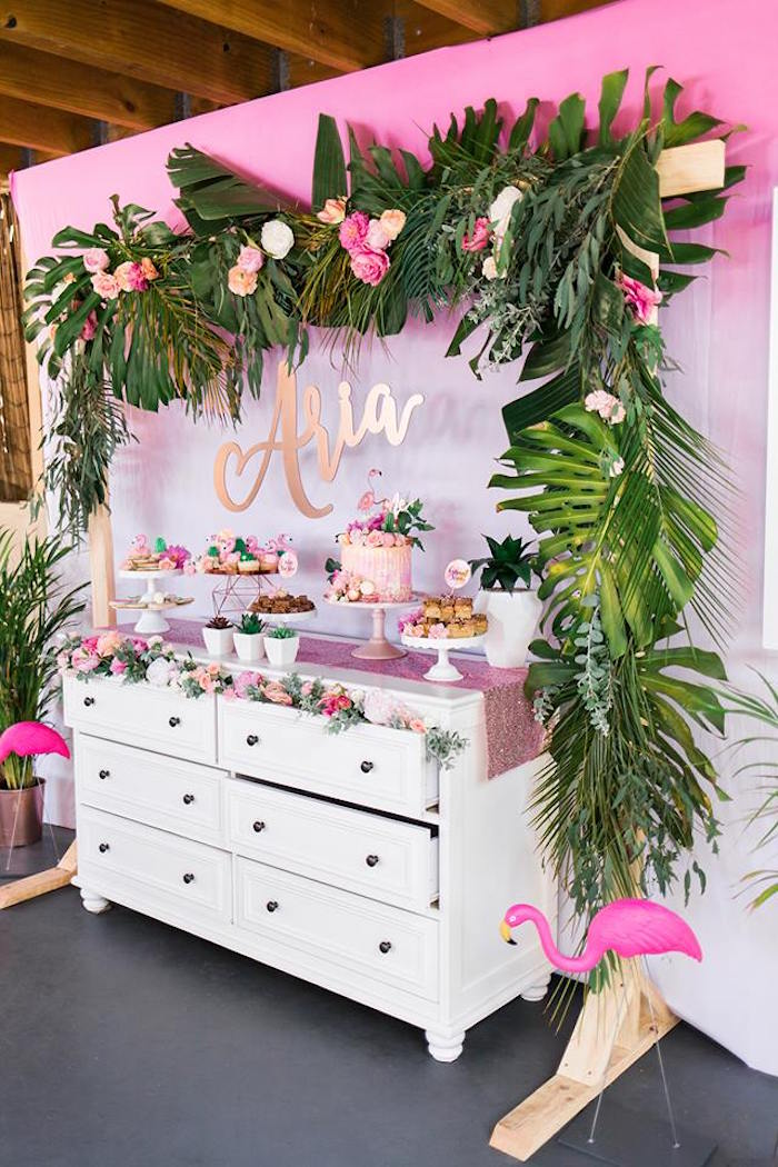 Dessert Table From A Lets Flamingle Tropical Flamingo Birthday Party On Karas Ideas