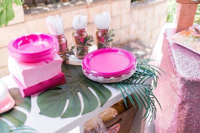 "Partyware from a ""Let's Flamingle"" Tropical Flamingo Birthday Party on Kara's Party Ideas 