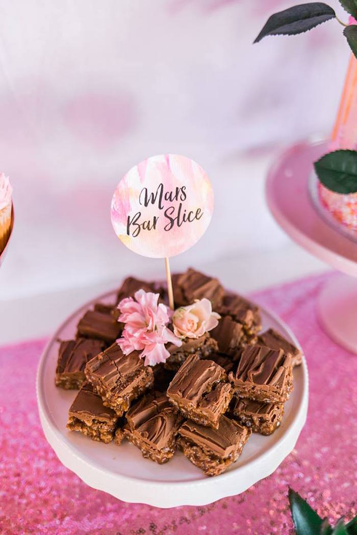 "Mars Bars from a ""Let's Flamingle"" Tropical Flamingo Birthday Party on Kara's Party Ideas 