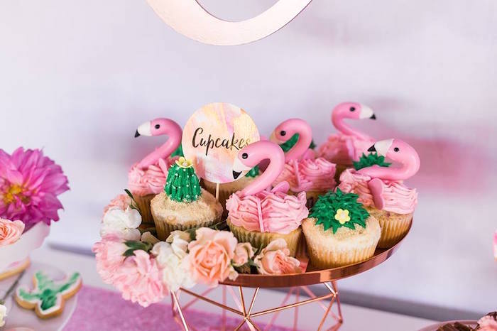 "Cupcakes from a ""Let's Flamingle"" Tropical Flamingo Birthday Party on Kara's Party Ideas 