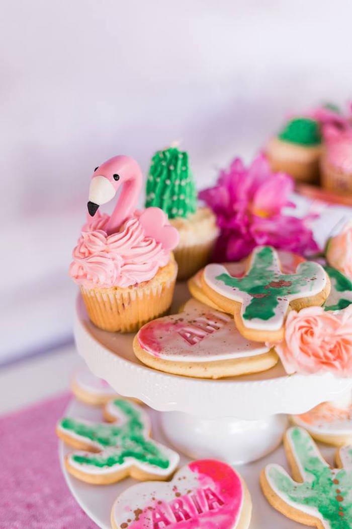 "Cupcakes & Cookies from a ""Let's Flamingle"" Tropical Flamingo Birthday Party on Kara's Party Ideas 