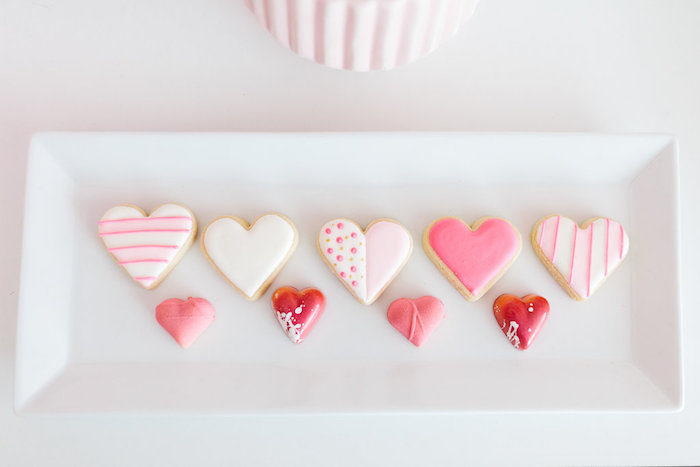 "Heart cookies & chocolates from a ""Llama be my Valentine"" Party on Kara's Party Ideas 