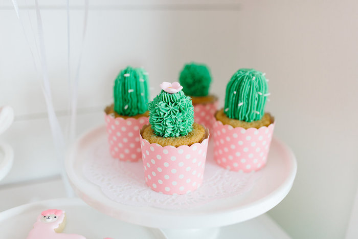"Cactus Cupcakes from a ""Llama be my Valentine"" Party on Kara's Party Ideas 