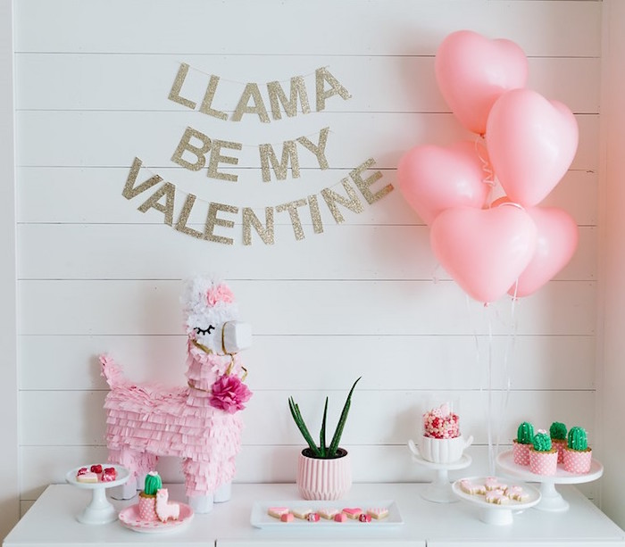 "Llama-inspired Dessert Table from a ""Llama be my Valentine"" Party on Kara's Party Ideas 