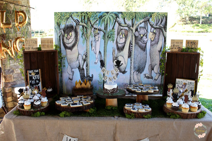 "Wild One Dessert Table from a ""Where the Wild Things Are"" Birthday Party on Kara's Party Ideas 