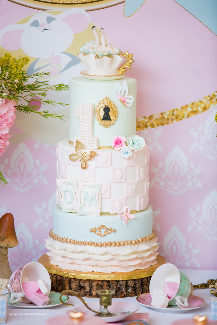 Alice in Wonderland Cake from an Alice in Wonderland Tea Party on Kara's Party Ideas | KarasPartyIdeas.com (31)