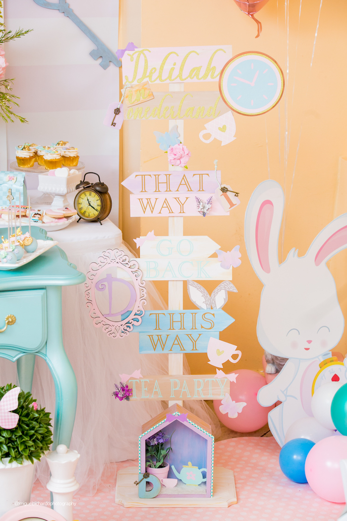 Directional Sign from an Alice in Wonderland Tea Party on Kara's Party Ideas | KarasPartyIdeas.com (20)