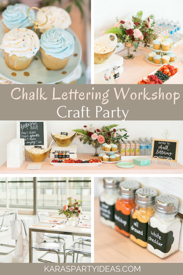 Chalk Lettering Workshop Craft Party via Kara's Party Ideas - KarasPartyIdeas.com
