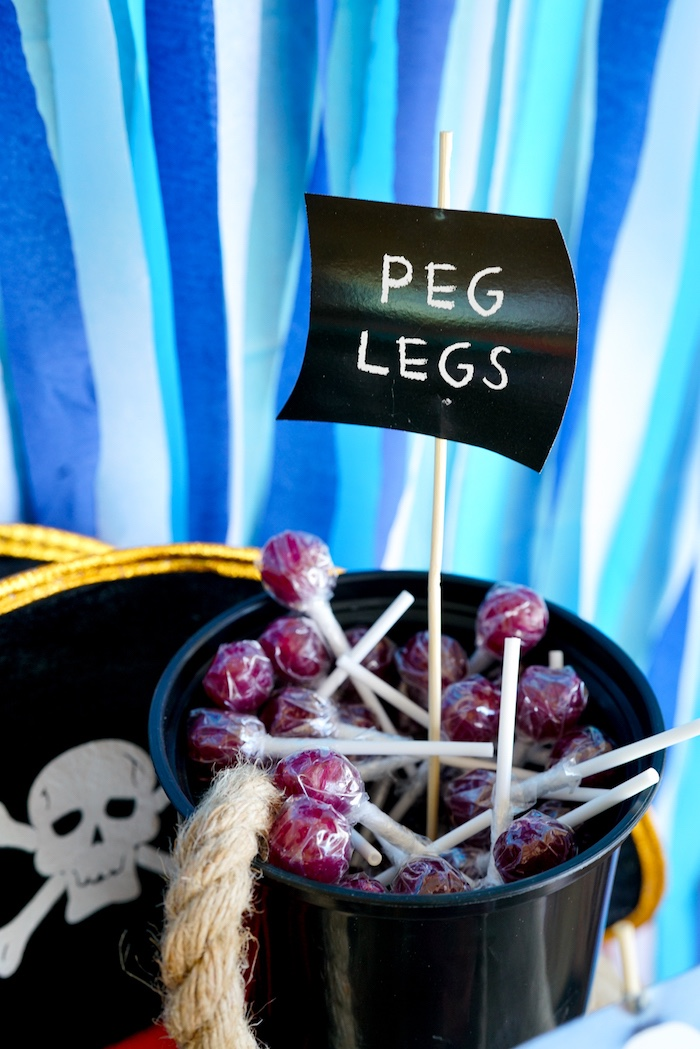 Peg Leg Lollipops from a Classic Pirate Birthday Party on Kara's Party Ideas | KarasPartyIdeas.com (19)